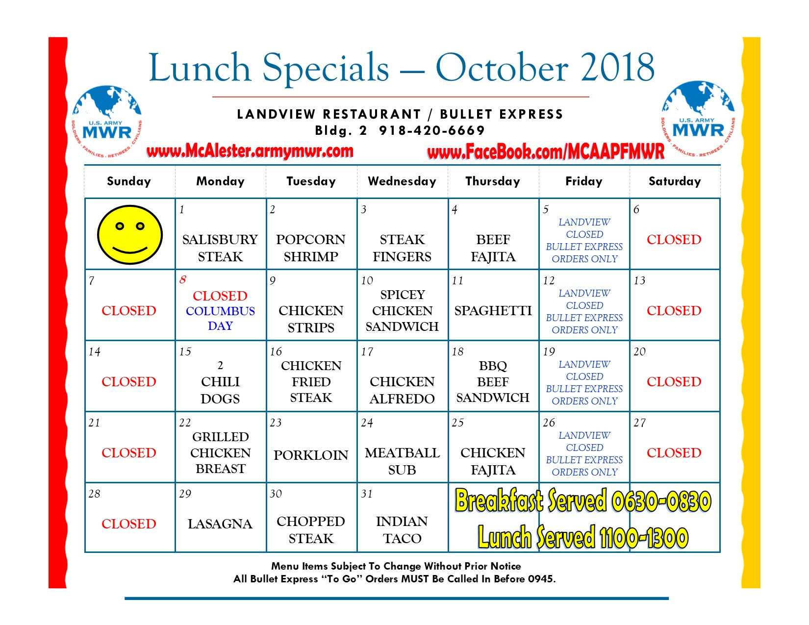 Landview and Bullet Express Lunch Special Menu